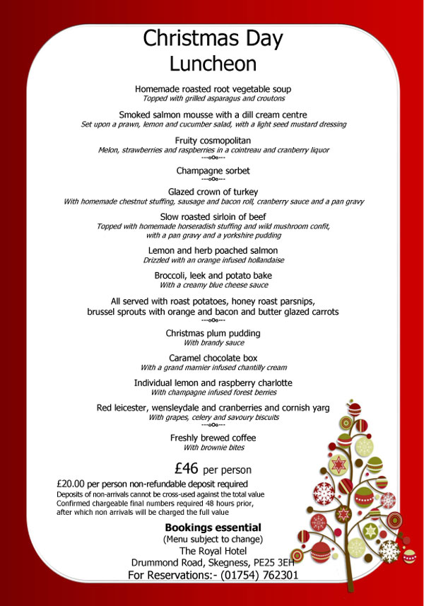 Christmas day menus 2017 christmas 2017 for Restaurants open christmas day 2017