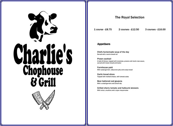 Charlie's Chophouse Menu